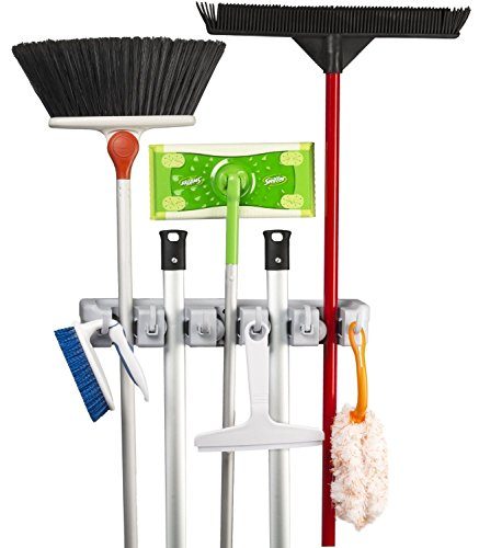 Broom Mop Holder KingTop Garage Storage Hooks Wall Mounted Organizer for Shelving Ideas 5 Position 6 Hooks [ Lifetime Warranty ]