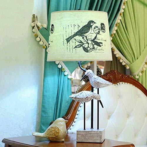JKUNYU Lámparas de mesa, personalidad simple sala de estar creativa de la lámpara decorativa europea, S retro clásico del dormitorio de noche las luces Tianyuan Él impresión sombra leyendo luz de la n