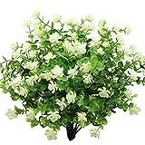 GKONGU Fiore Artificiale 4 Pezzi Bouquet di eucalipto Piante Verde, Fiori Finti di eucalipto Resistente ai Raggi UV per Interni Esterni Home Office Giardino Decorazione di Nozze (Bianco)