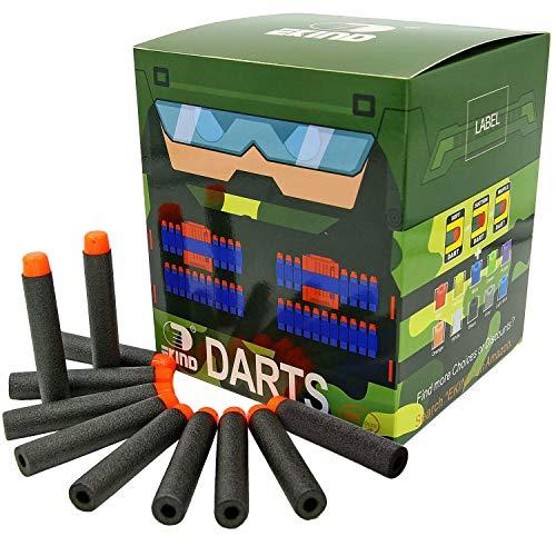 EKIND 200Pcs Darts Refill Foam Bullet Compatible for Nerf N-Strike Elite Guns (Black)