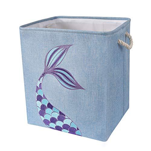 WERNNSAI Cestos para la Colada de Sirena - 40 × 33 × 45cm Cesto para Guardar Plegables Guardería Caja de Almacenaje Cestas de Regalo para Bebés Niñas Juguetes Ropa Zapatos Organizador del Hogar