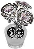 Maceta con 3 figuras de flores con cristal hecho con elementos Swarovski (plateado)