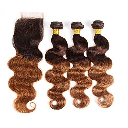 Ombre Brazilian Hair Body Wave Ombre Bundles With Closure, 3 Ombre Hair Bundles With Lace Closure (T4/30,12 14 16+12)