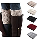 Bestjybt Womens Short Boots Socks Crochet Knitted Boot Cuffs Leg Warmers Socks, 5 Pairs, One Size, 5 Pairs