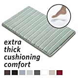 MICRODRY Extra-Thick, SoftLux, Charcoal Infused Memory Foam Bath Mat with GripTex Skid-Resistant Base, 17x24, SeaGlass