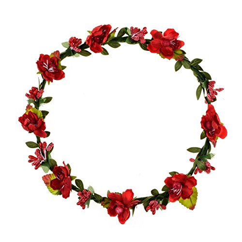 Floral Fall Boho Headband Flower Crown Festival Wedding Beach Hair Wreath F-01 (Purple) (Red)