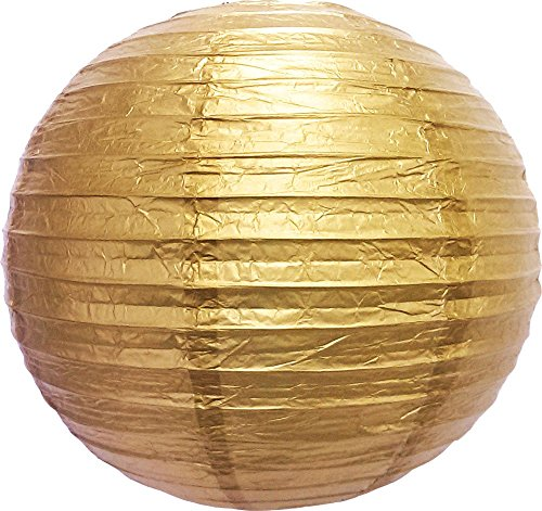 M.V. Trading LNT16ER-BZ Colorful Chinese/Japanese Round Paper Lanterns with Metal Frame, 16-Inches, Bronze