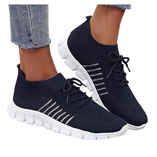 Aniywn Women's Running Shoes Slip Resistant Work Shoes Lightweight Lace Up Sneakers Athletic Running Shoes Blue
