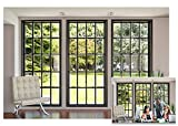 AOFOTO 7x5ft Business Office French Sash Window Backdrop Living Room Sofa Plant Photography Background Interior Casement Work at Home Modern Flat Furniture Apartment Decoration Residence Villa Props