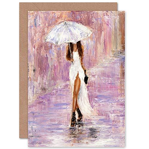 Fijne Kunst Prints Vrouw In De Regen Met Paraplu Wenskaart Met Envelop Binnen Premium Kwaliteit