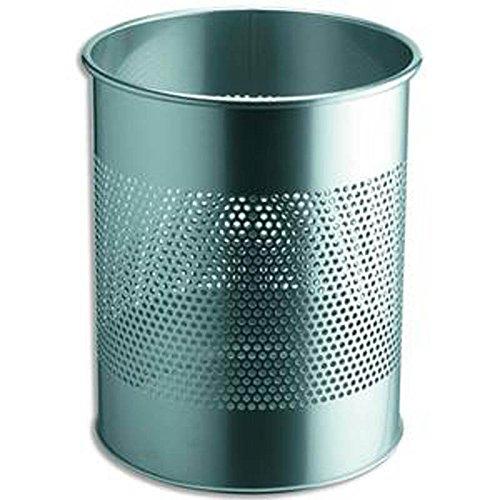 Corbeille à papier métal ajourée, 15 litres, Argent, Diamètre 31,5 x Hauteur 26 cm
