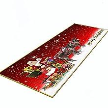 Marryler Alfombra Pasillo Salon de Franela con Respaldo de Goma Alfombra Bañera Antideslizante con Estampado de Navidad en 3D Alfombras Cocina de Lavable Baño Sala de Estar(Rojo)