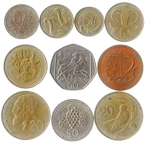 Collezione Di Monete Cipriote Monete 1-50 Centesimi 10 Misto Cipro Dal 1963. Per La Vostra Moneta Bancaria, Portaoggetti Monete O Album Di Moneta