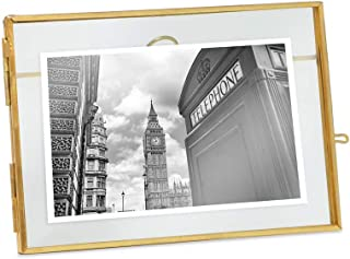 Isaac Jacobs 5x7, Antique Gold, Vintage Style Brass and Glass, Metal Floating Desk Photo Frame (Horizontal), with Locket Closure for Pictures, Art, More