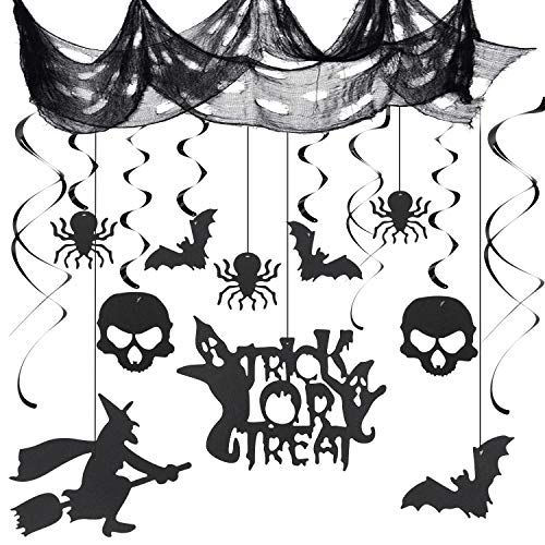 Herefun Halloween Decorazioni Horror, Ragni Pipistrelli Scheletro Witch Halloween Stregata Decorazioni di Forniture per Feste di Halloween (A)