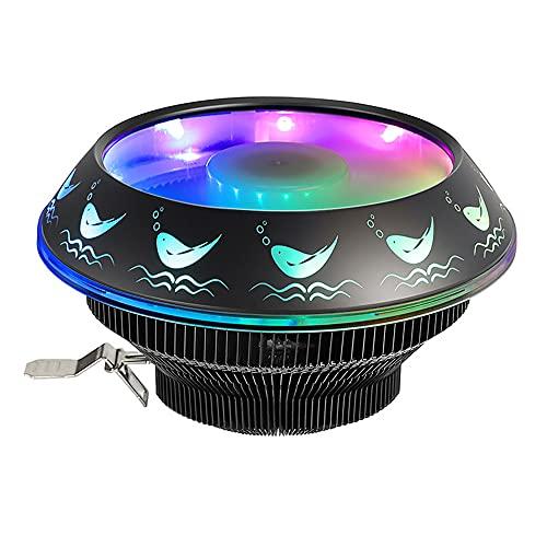 Warmdeco Ventilador Enfriador de CPU RGB Negro de 12V 120mm PWM 4Pin 1800RPM Radiador silencioso de PC para Intel LGA 1155/1156/1366