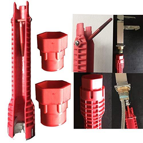 JFJL Schlüssel Für Wasserhahn Und Waschbecken Installer-WC-Schüssel/Waschbecken / Bad/Küche Sanitär Und Mehr Reparatur- Und Installationswerkzeuge,Red