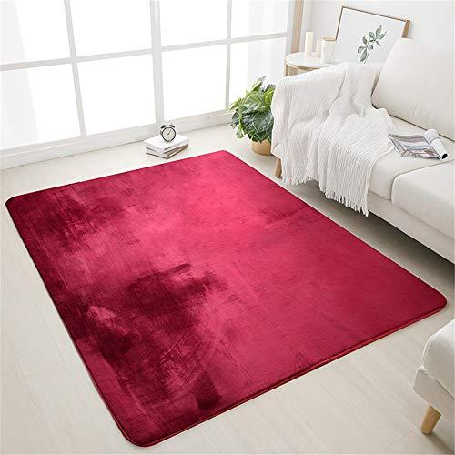 misshxh tapijt, rode kleurverloop, zacht, pluizig, waterdicht, antislip tapijt, geschikt voor woonkamer, slaapkamer, keuken, hal