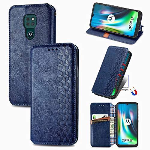 TOPOFU Funda Motorola Moto G9 Play, Carcasa Flip Leather Wallet Case, Funda de Cuero PU Premium Carcasa para Motorola Moto G9 Play (Azul)
