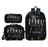 Fashion-zone The Vampire Diaries Backpack Set-Boys Back to School Bookbag Portable Backpack with Insulated Lunch Bag Pencil Case