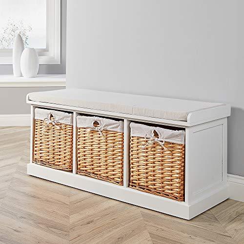 Home Source White Hallway Shoe Storage Bench Chest Wicker Basket Cushion Seat, 3 Drawer