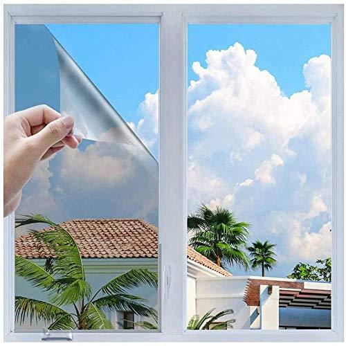 h Sonnenschutzfolie Selbstklebend Fenster Fensterfolie Verdunkelungsfolie Wärmeisolierung 99% Anti-UV Blickdichte Sichtschutz Folie für Fenster Haus Büro Geschäft (Silber, 90 x 400cm)