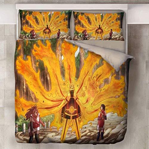QWAS Funda de edredón Naruto, adaptée à toutes Les Seasons, literie Easy d'entretien, diseño exquis, sans garnissage, conjunto de 3 piezas (L1,200 x 200 cm + 50 x 75 cm x 2)