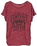 Emma & Giovanni - Oversized T-Shirt/Oberteile Mit Spitze zurück- Damen (* Bordeaux, XL)