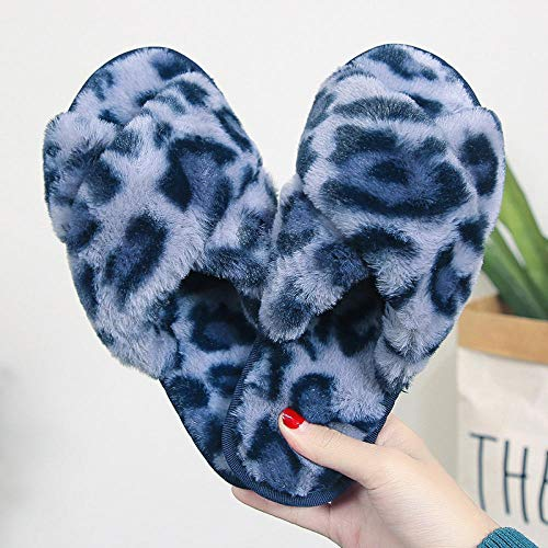 Slippers Ladies Warm Shoes Leopard Print Ladies Indoor Floor Slippers Female Home Fashion Slippers-Blue_9