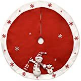 Elegant Red Christmas Tree Skirt 48' Plush Snowman with White Snowflakes Border by Gift Boutique