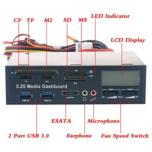 eoocvt 5.25 inch Multi-Function USB 3.0 Hub CF TF M2 SD MS Card Reader Fan Controller with LCD Display PC Front Panel Media Dashboard eSATA Audio Headphone Mic