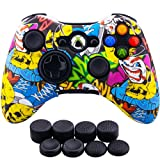 9CDeer 1 Piece of Silicone Water Transfer Protective Sleeve Case Cover Skin + 8 Thumb Grips Analog Caps for Xbox 360 Controller, Cartoon Skulls