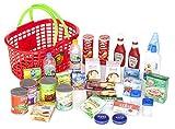 Kaufmannsladen Zubehör Polly Einkaufskorb gefüllt mit 29 Miniaturen für den Kaufladen .Diese Produkte Laufen Nicht auf der Kaufladen Kassen App. -