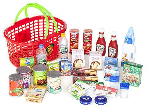 Kaufmannsladen Zubehör Polly Einkaufskorb gefüllt mit 29 Miniaturen für den Kaufladen .Diese Produkte Laufen Nicht auf der Kaufladen Kassen App.