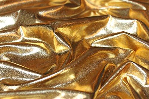 Hochwertiger glänzender Stoff (elastisch, reißt nicht bei Spannung / beim stretchen, hinterlässt keine Brüche, fließend, fällt schön, dennoch griffig): Lamé-Stoff, Glitzerstoff, Metallic, Metall-Stretch, Karnevalsstoff, Faschingsstoff (VE 1m) (gold)