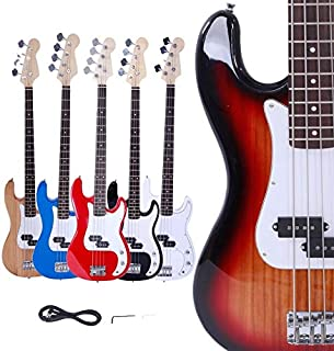 $94 » Bread and milk 1PCS, 6 Color Beginner Vintage Brand Blue 4-String Electric Bass Guitar for Burning Fire Style