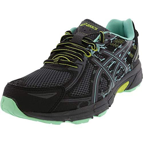 ASICS Women's Gel-Venture 6 Running-Shoes, Black/Carbon/Green, 8 B(M) US