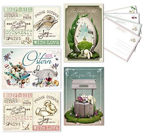 20 Osterkarten im Set, Postkarten zu Ostern, 5 verschiedene Motive im Set, Format: 17,5 x 12 cm, Liebevoll gestaltete Osterkarten - Perfekt für Ihre Ostergrüße