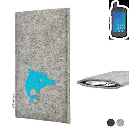 flat.design Handy Hülle für Ruggear RG720 FARO mit Delphin handgefertigte Filz Tasche fair