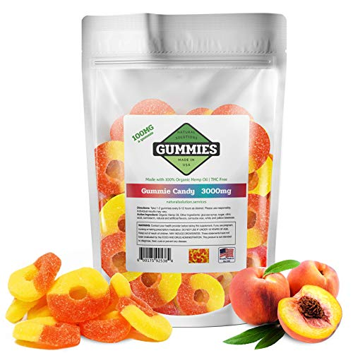 Hemp Gummies - 3000 mg per Bag - 30ct Premium Peach Rings - 100mg per Gummy - Organic Hemp + MCT - 0% THC - Relief for Stress, Pain, Inflammation, Anxiety, Depression, Nausea, Omega 3,6,9 and More