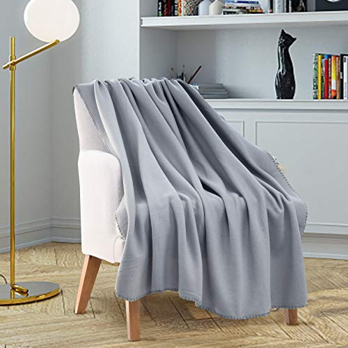 ZECHREY Solid Color Throw Blanket Lightweight Soft Polar Fleece Travel Blanket for All Seasons 50''x60'', Gray