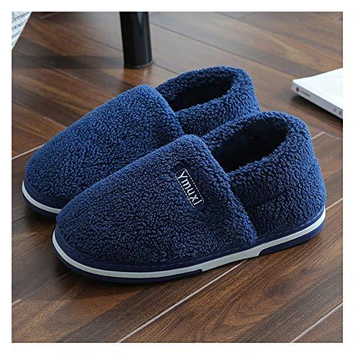YUTJK Winter Baumwolle Pantoffeln Plüsch Wärme Weiche Hausschuhe Home rutschfeste Slippers für Herren Damen,Winter Home Paar Baumwolle Schuhe-Blue_7/7.5UK