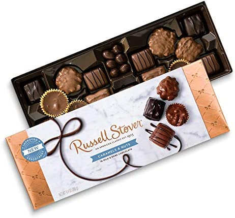Russell Stover Caramel and Nuts in Milk and Dark Chocolate Assorted Chocolate Gift Box 9 4 Ounce product image