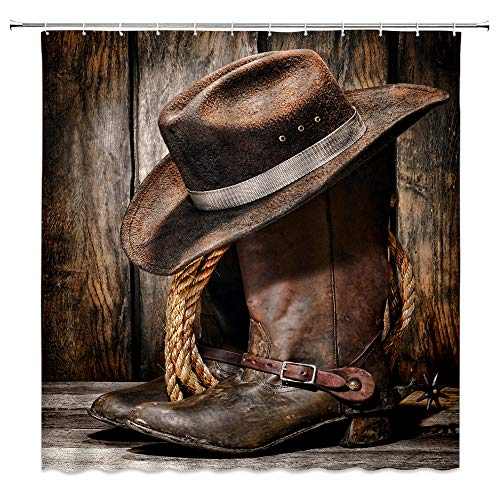 BCNEW Western Cowboy Shower Curtain American West Vintage Country Farmhouse Rustic Boots Hat Wood Ranch Barn Polyester Fabric Bathroom Decoration 70×70 Inch with Hook Hole