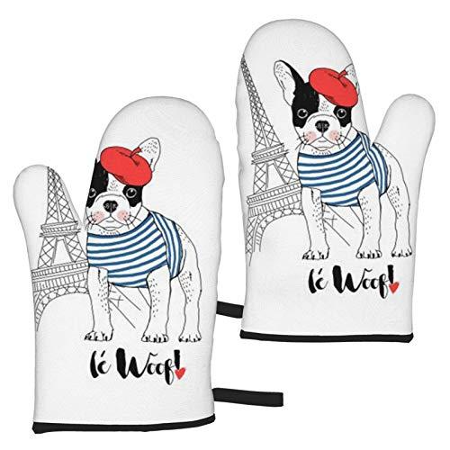 VBHGHFF Juego de 2 manoplas de horno con diseño de Bulldog francés con Torre Eiffel, para microondas, barbacoa, horno, horno, horno, cocina, resistente al calor