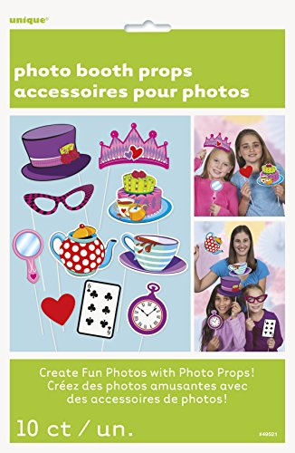 Unique Party- Paquete de 10 accesorios de cabina de fotos Fiesta de Té del SombrereroLoco, Multicolor, Amerikanische Größe (49521) , color/modelo surtido