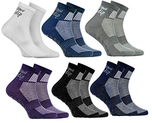Rainbow Socks - Jungen Mädchen Sneaker Baumwolle Antirutsch Sport Stoppersocken - 6 Paar - Weiß Lila Grau Blau Marino Schwarz Jeans - Größen 30-35