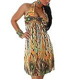 Vestido de baile para mujer con cuello halter, salsa, latina, cóctel, verano, mini vestido de noche 509-2 naranja Talla única