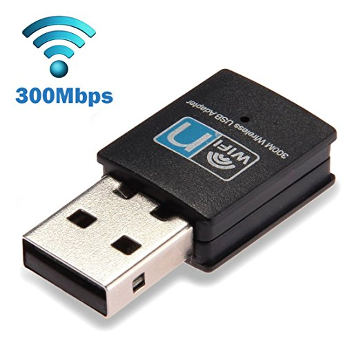 300Mbps USB WiFi Adapter, LOTEKOO Wireless LAN Network Card Adapter WiFi Dongle for Desktop Laptop PC Windows 10 8 7 XP MAC OS (Plug-and-Play for Windows10)