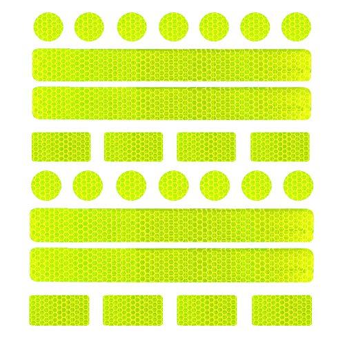 Girls'love talk Reflektoren Aufkleber Sticker, Reflektierende Licht Reflektoren Aufkleber, 26 Reflektoraufkleber Set für Kinderwagen, Fahrrad und Helme - Reflektor Leuchtaufkleber Sticker(Gelb)